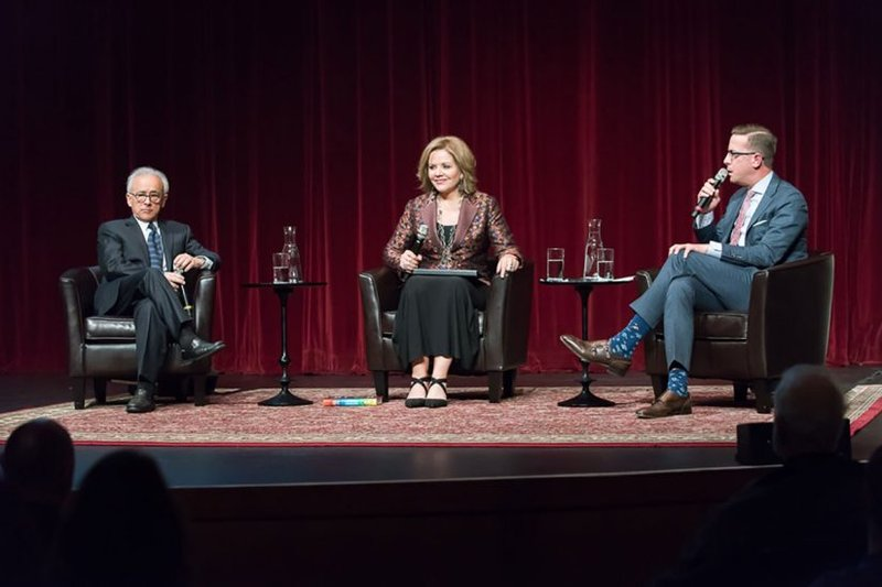 Antonio Damasio, Renée Fleming and Christopher Koelsch discuss the possibility of using music in treatment for issues like chronic pain or cancer. Photos by Michael Palma.
