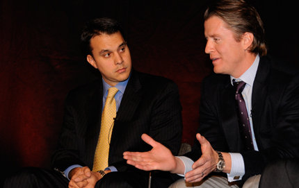 Michael DuHaime, political director for McCain/Palin 2008 (left) and GOP strategist Todd Beyer, president of Beyer Communications, Inc., said creating a distance between McCain and President Bush became an impossible task. Photo credit Molly Sullivan.
