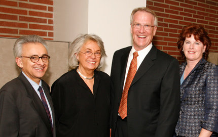 The Dornsifes and the Damasios celebrate at the ceremony for the endowed chairs in 2006. From left: Antonio Damasio, David Dornsife Chair in Neuroscience and professor of psychology and neurology; Hanna Damasio, Dana Dornsife Chair in Neuroscience and professor of psychology and neurology; and David and Dana Dornsife, who pledged $1 million to fund the top priorities for the BCI.