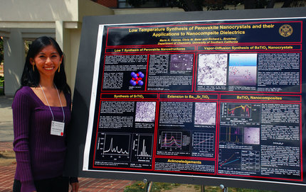 Chemistry senior Marie Anne Cuevas took two top prizes in the undergraduate symposium for her research on nanocrystals and their applications to nanocomposite dielectrics. Photo credit Taylor Foust.