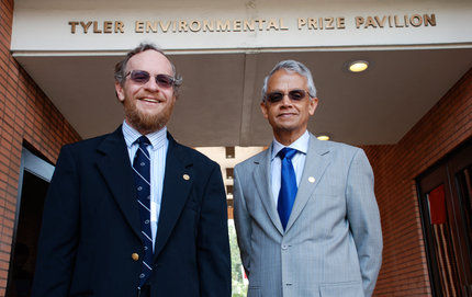 "Tyler Prize laureates Richard Alley (left) and Veerabdran ""Ram"" Ramanathan celebrate during a reception held at the Tyler Environmental Prize Pavilion at USC. Photo credit Pamela J. Johnson."