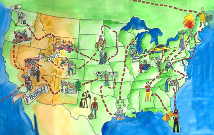 Daniel Seddiqui '05 has embarked on an unusual career path — working 50 jobs, each for one week, in 50 states. Illustration by Molly Sullivan.