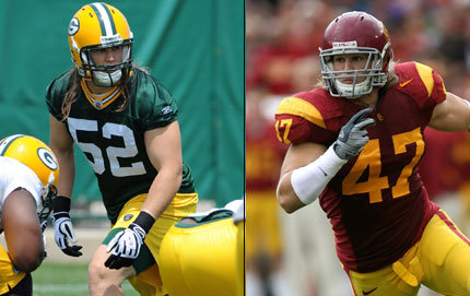 It took linebacker Clay Matthews III three training camp practices to work his way into the Green Bay Packers' starting lineup. The USC College alumnus was the fifth person in his family to play football at USC. Left photo courtesy of Green Bay Packers, Trojan photo credit John Pyle.
