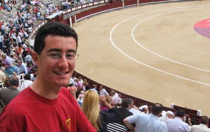 Martin Hodis sits in the bleachers at La Plaza de Toros de Las Ventas in Madrid waiting for a bullfight to begin. Photo courtesy of Martin Hodis.