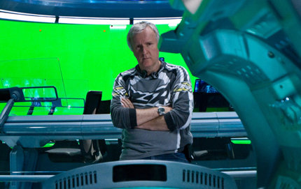 <em>Avatar</em> director James Cameron on the set of the film. Photo credit Mark Fellman, Twentieth Century Fox Film Corporation.