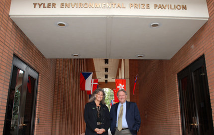 Tyler Prize for Environmental Achievement laureates Laurie Marker and Stuart Pimm give lectures and collect their awards during an April 22 ceremony at USC. Photo credit Pamela J. Johnson.