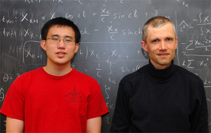 Professor of Mathematics Sergey Lototsky (right) was a coach of the 2009 USC Putnam team, which placed 84th out of 546 teams at the December mathematics competition. Sophomore Junda Chen (left) was the highest placing member of the team, ranking 311th out of 4,036 contestants. Photo credit Laurie Moore.