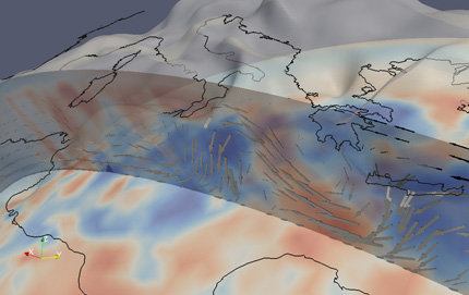 Dynamic topography (gray surface) and mantle flow (vectors) as predicted by a geodynamic model for the Mediterranean.
