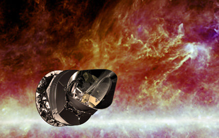 An artist's impression depicts the Planck telescope against a background image of the large-scale structure in the Milky Way. Photo copyright European Space Agency.