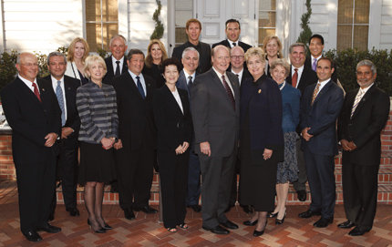 "USC College Board of Councilors (front to back; left to right): Yossie Hollander, Richard S. Flores, Susan Casden, Diane Dixon, Richard Cook, William Barkett, Robin Broidy, Leslie Berger, Michael Reilly, Lawrence Piro, USC College Dean Howard Gillman, Kelly Porter, Shane Foley, USC College Board of Councilors Chair Jana  Waring Greer, Joan Abrahamson, MaryLou Boone, Gerald Papazian, Mitchell Lew, Harry Robinson, and Kumarakulasingam ""Suri"" Suriyakumar  Not pictured: Jay V. Berger, Robert D. Beyer, Gregory Brakovich, James Corfman, Robert R. Dockson, Lisa M. Goldman, Janice Bryant Howroyd, Suzanne Nora Johnson, Stephen G. Johnson, Samuel King, David Y. Lee, Andrew Littlefair, Robert Osher, Alicia Smotherman, Glenn A. Sonnenberg, and Rosemary Tomich. Photo credit Steve Cohn."