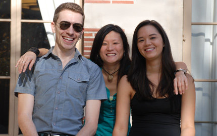 Allison Doyle (middle) shares a laugh with Saxon Burns, also a student in USC College's Master of Professional Writing program, and Kate McCarthy, whom she's been friends with since their undergraduate days as English majors in the College. Photo credit Pamela J. Johnson.