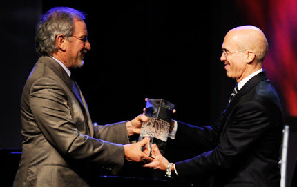 Jeffrey Katzenberg (right), American film producer and CEO of DreamWorks Animation, receives the 2010 Ambassador for Humanity Award from film director and USC Shoah Foundation Institute founder Steven Spielberg at a gala on Dec. 9 at Kodak Theatre. Photo credit WireImages.