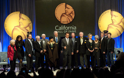 University Professor Kevin Starr (fifth medalist from right) shares the stage with fellow inductees James Cameron, Barbra Streisand and Betty White, to name a few. Starr was among 14 inducted into the 2010 California Hall of Fame by Gov. Arnold Schwarzenegger. Photo credit Hector Amezcua of The Sacramento Bee.