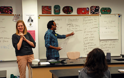 Amie Longmire and Krishna Narayanamurti, students in USC College's Master of Professional Writing Program, teaching a multi-genre writing course to freshman at West Adams Preparatory High School. The residency program is through a partnership with PEN Center USA's PEN in the Classroom (PITC). Photo credit Ambrosia Viramontes-Brody.