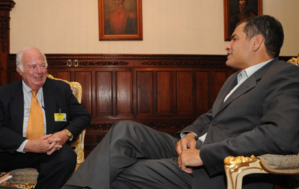 USC Dornsife's Abe Lowenthal recently interviewed Ecuador President Rafael Correa in Quito, part of Lowenthal's research for his forthcoming book with a working title, <em>Rethinking U.S.-Latin American Relations</em>. Photo courtesy of President Correa's office.