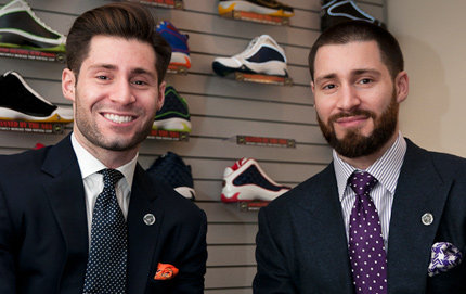 USC Dornsife alumnus Adam Goldston (right) and his twin brother Ryan provide basketball players with shoes that allow them to jump higher. The young entrepreneurs opened their business Athletic Propulsion Lab (APL) in 2009. Photo by Jie Gu.