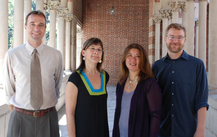 From left to right: Chris Hammons, lecturer in anthropology; Lisa Bitel, professor of history and religion, and chair of the CRCC Interdisciplinary Research Group; Jane Iwamura, assistant professor of religion and American studies and ethnicity; and Brad Nabors, Ph.D. candidate in sociology. Photo by Ambrosia Viramontes-Brody.