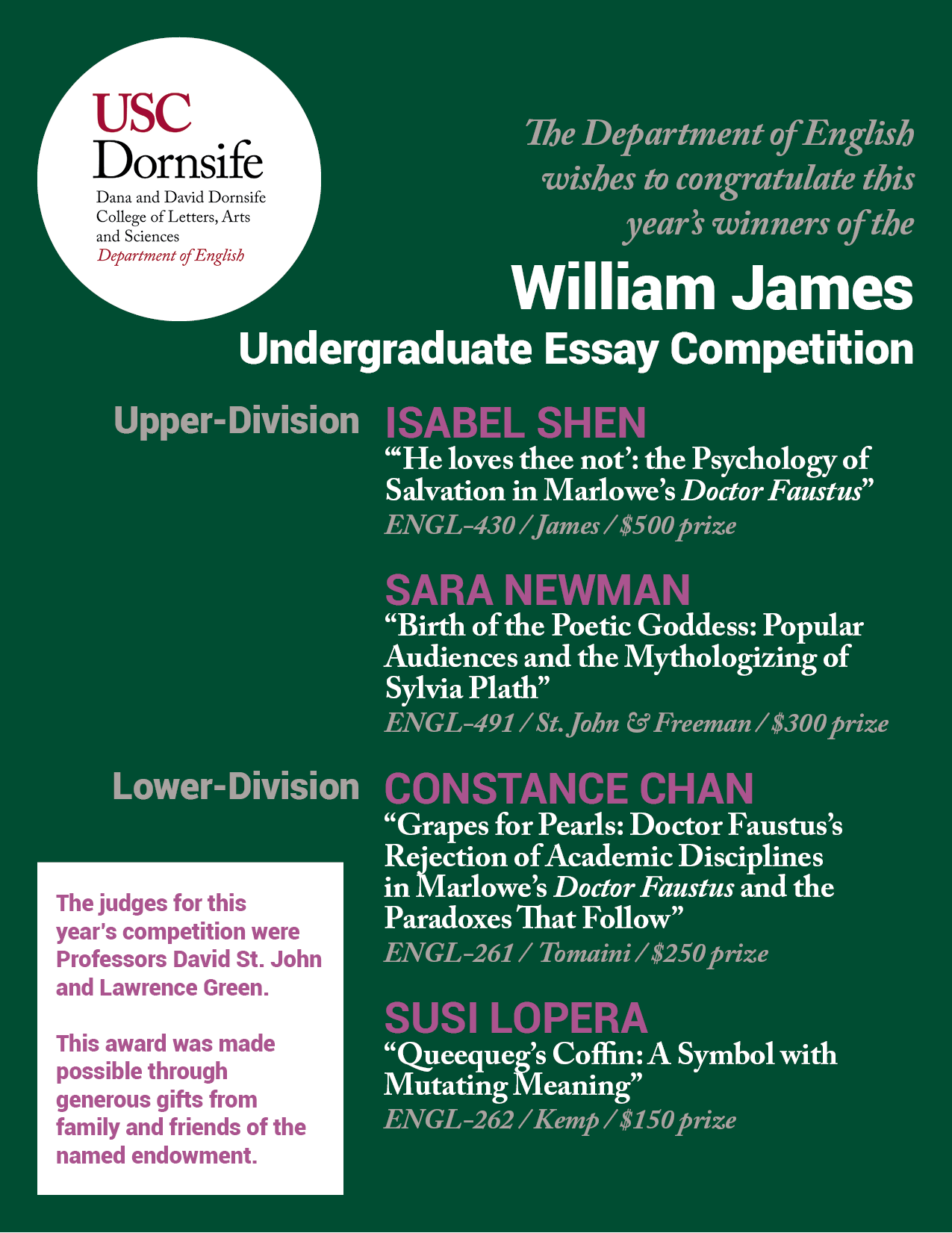 prizes > department of english > usc dana and david dornsife spring 2015 prizes