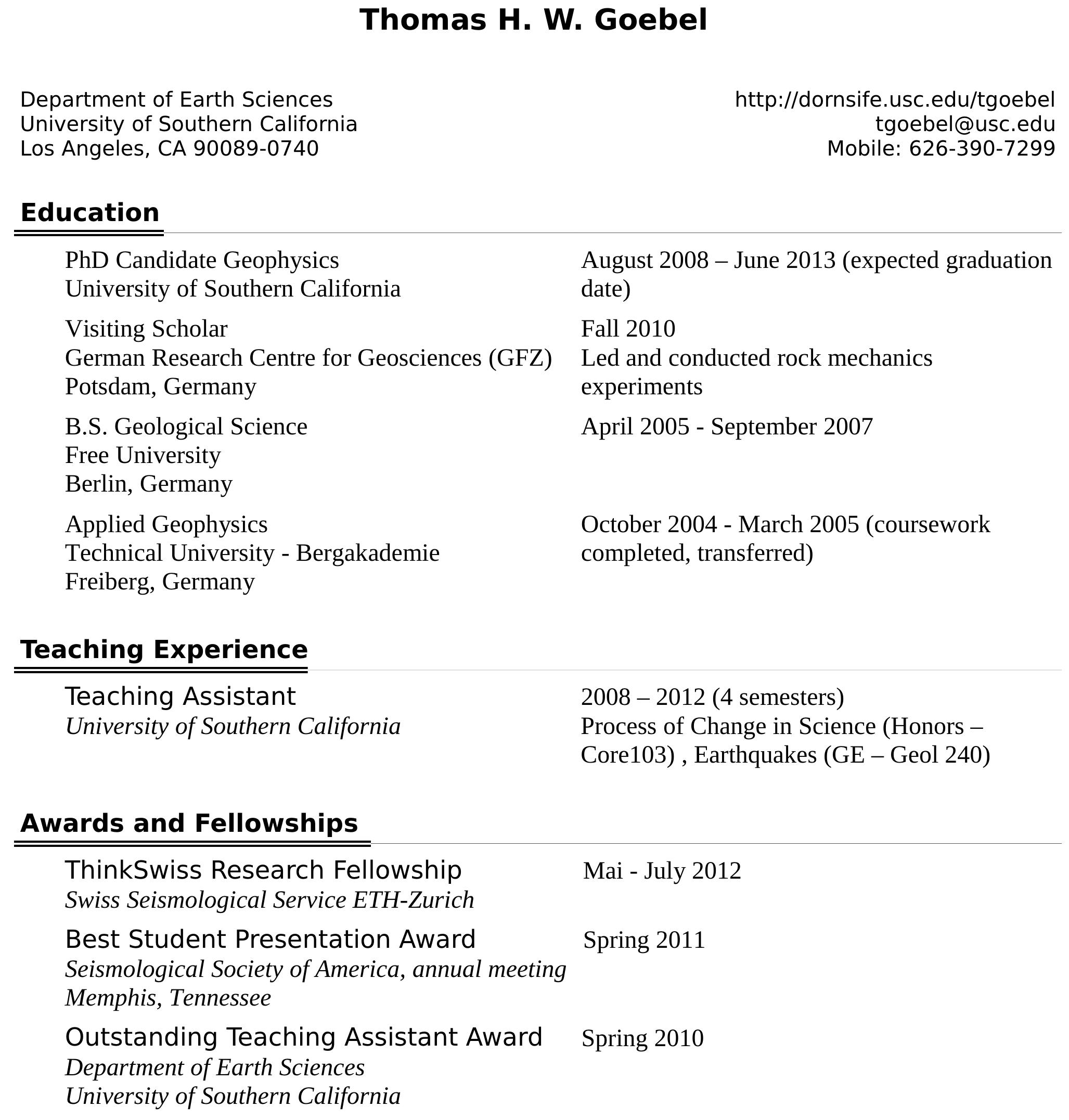Curriculum Vitae Thomas Goebel Usc Professional Site Usc Dana