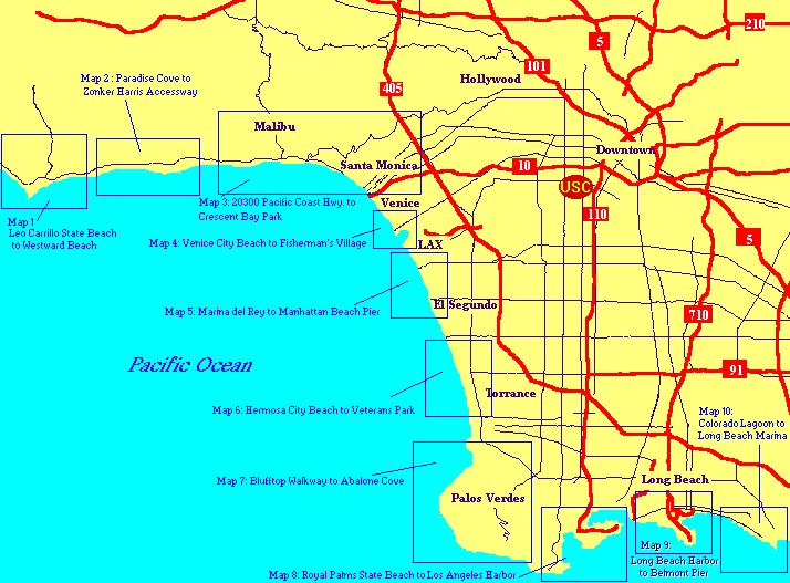Los Angeles Map Location.Los Angeles County Beaches Usc Sea Grant Usc Dana And David