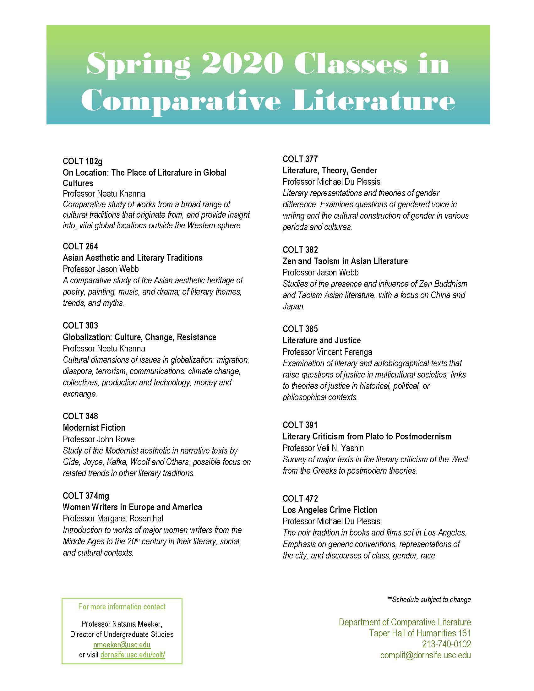 Usc Schedule Of Classes Fall 2020.Courses Department Of Comparative Literature Usc Dana