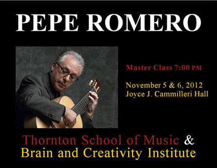 Pepe Romero Master Class Nov 5 & 6 2012 sponsorred by BCI & Thornton School of Music