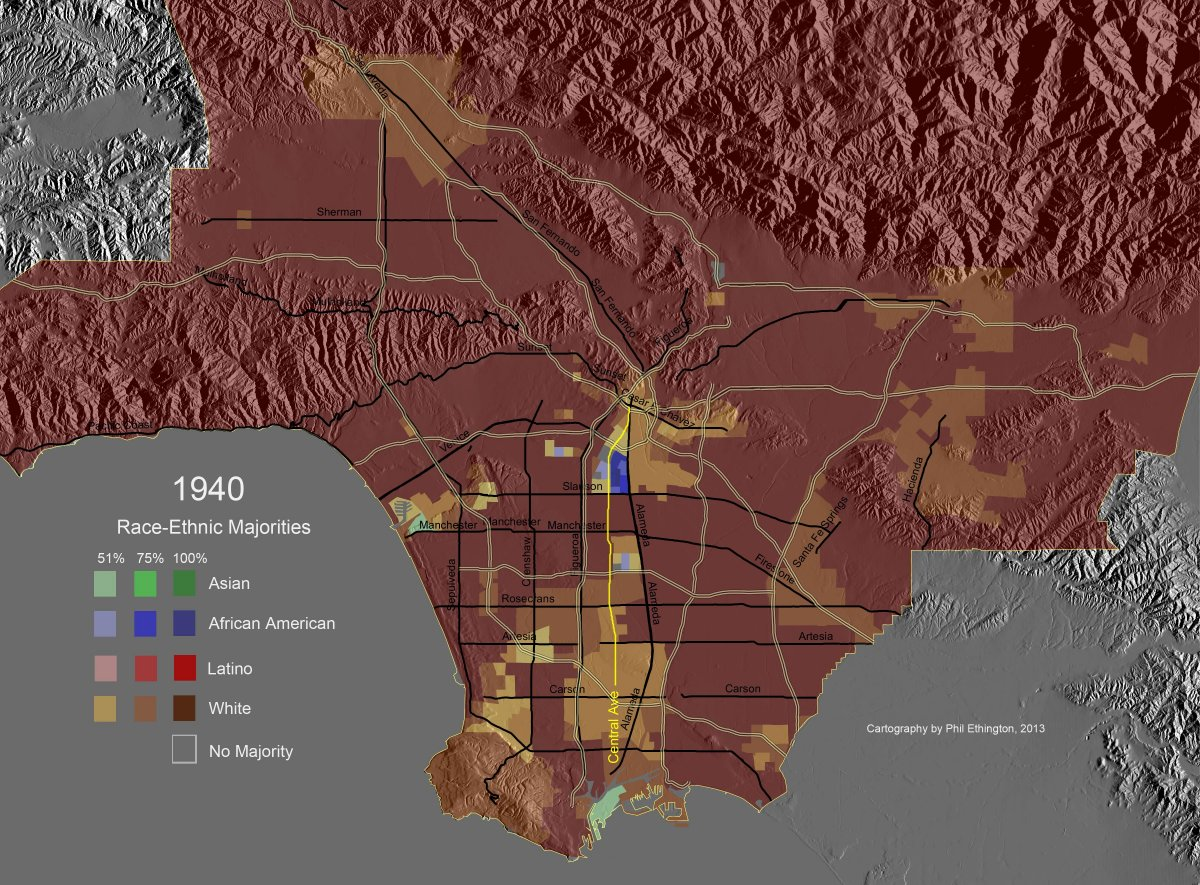 Race Ethnic Majority Map Los Angeles County 1950 Highlighting Central Avenue